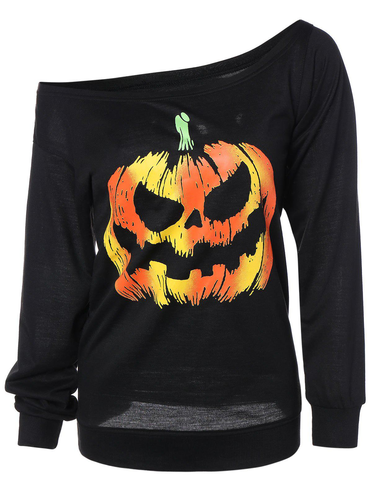 Long Sleeve Pumpkin Print Sweatshirt - BLACK L