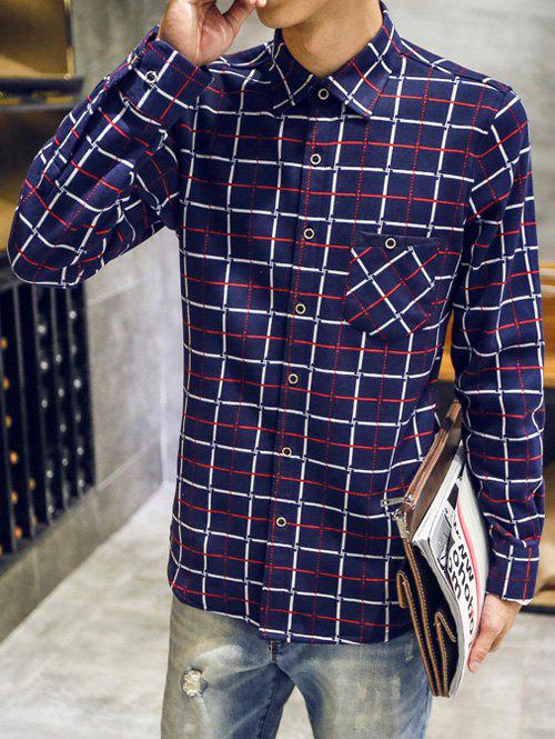 Long Sleeve Thermal Plaid Shirt - CADETBLUE XL