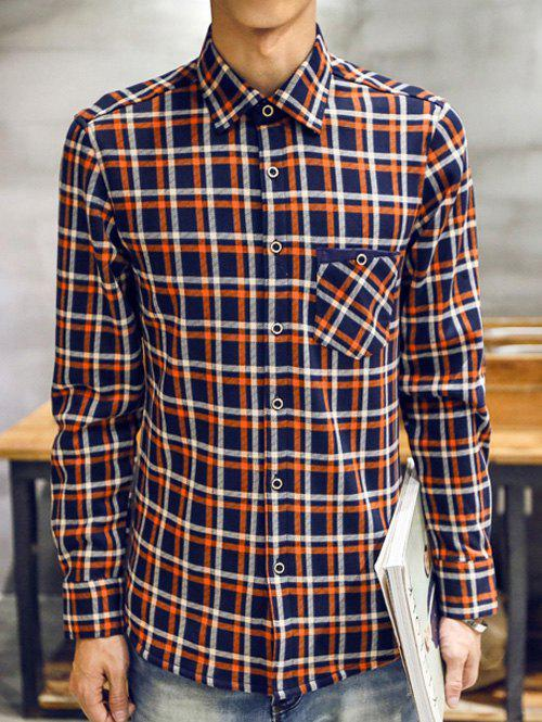 Long Sleeve Thermal Checked Shirt - ORANGE L