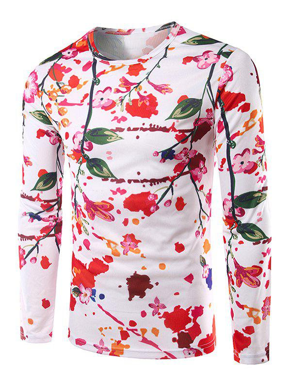 Floral 3D Print Long Sleeves Casual T-Shirt - WHITE M