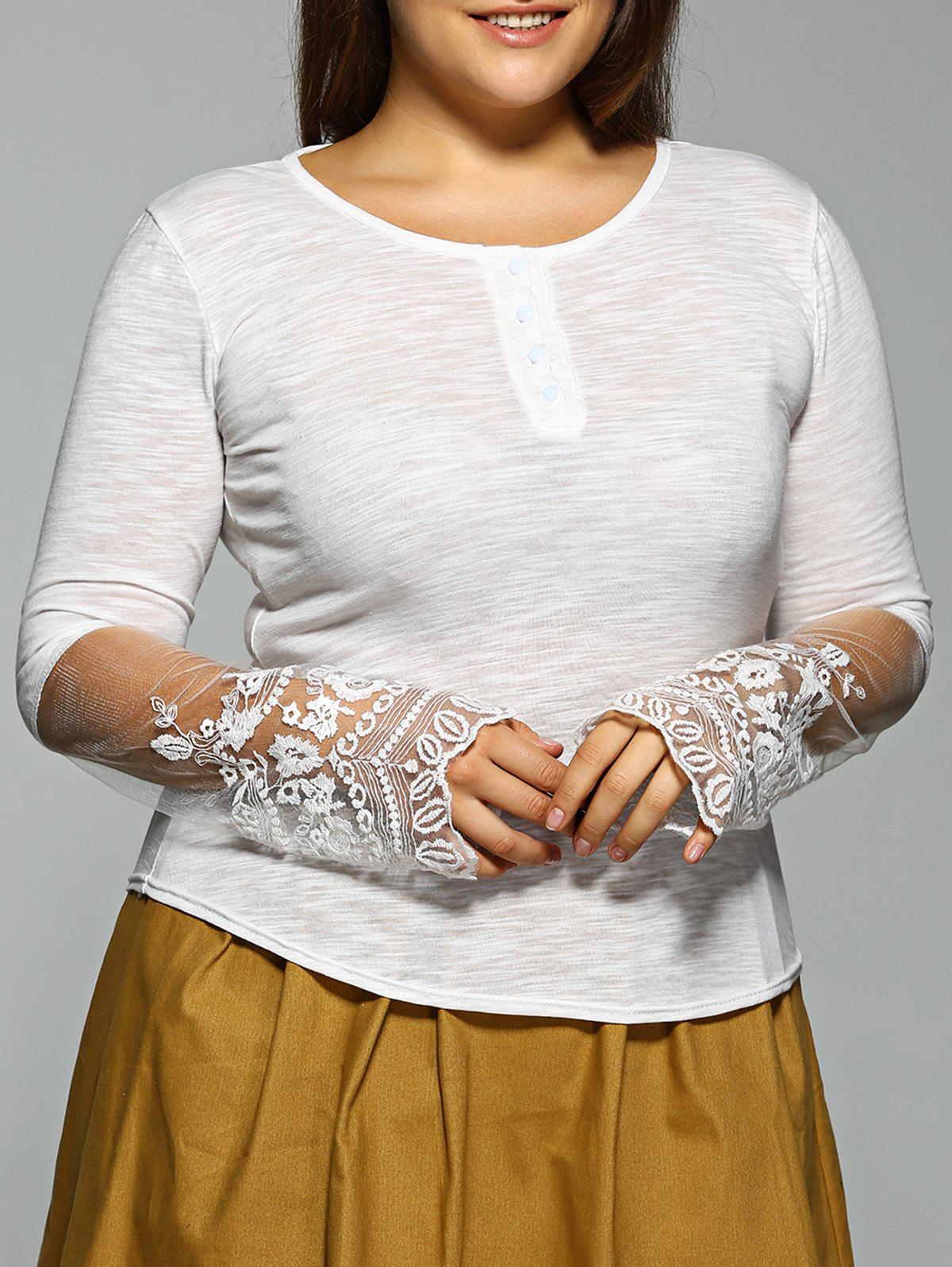 Plus Size Long Sleeve Lace Inset T-Shirt sanctuary new tan long sleeve lace inset tee xs $49 dbfl