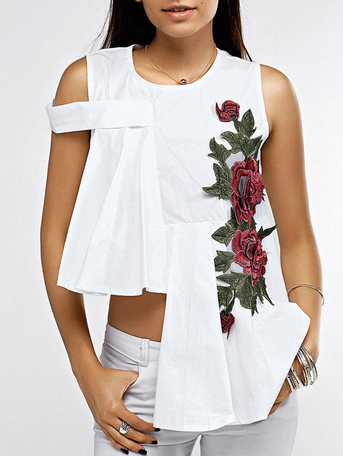 Chic Asymmetrical Rose Embroidery Women's Blouse