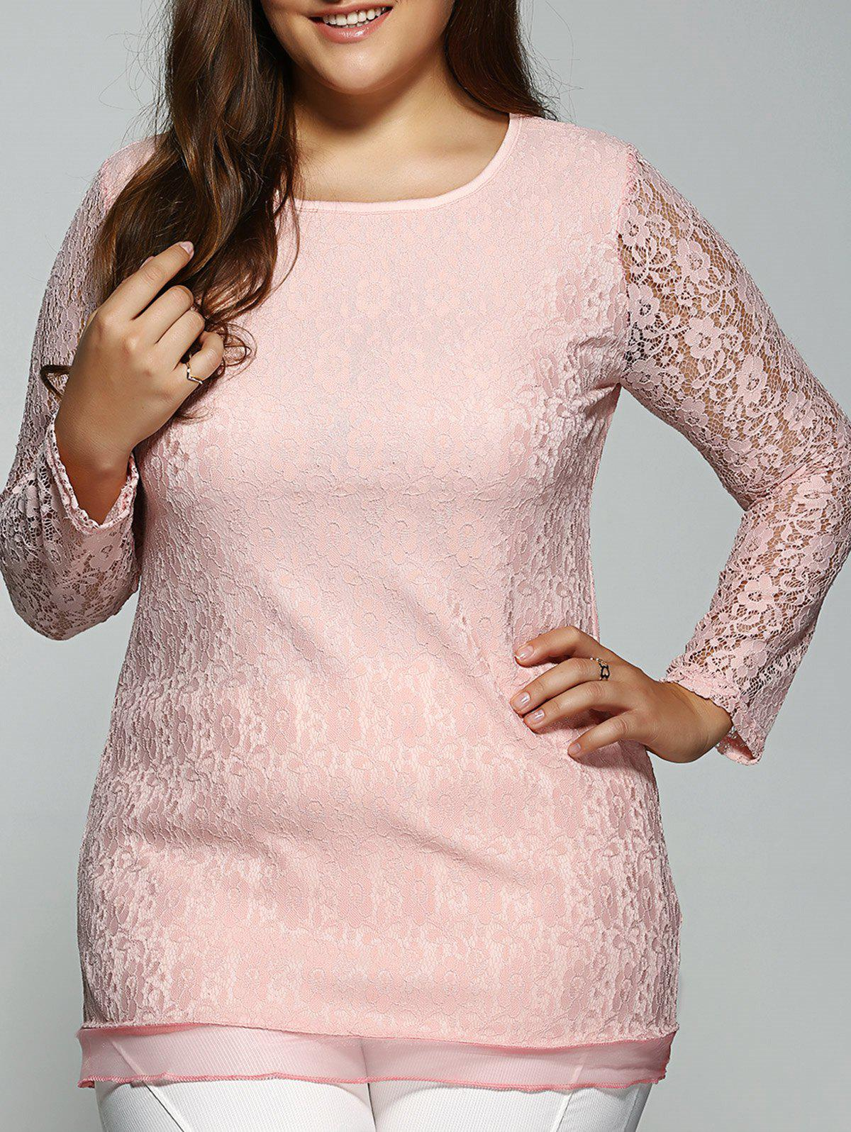 Plus Size Long Sleeve Lace TeeWomen<br><br><br>Size: 2XL<br>Color: PINK