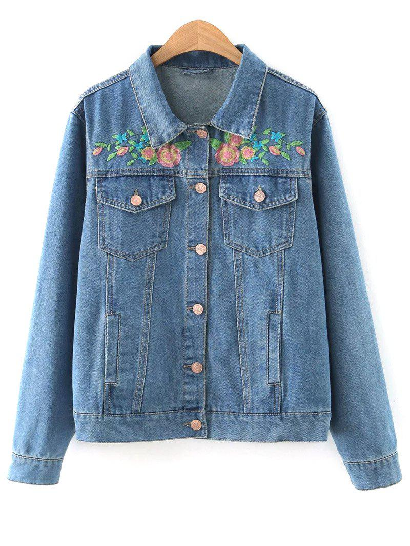Floral Embroidered Denim Jacket - DENIM BLUE S