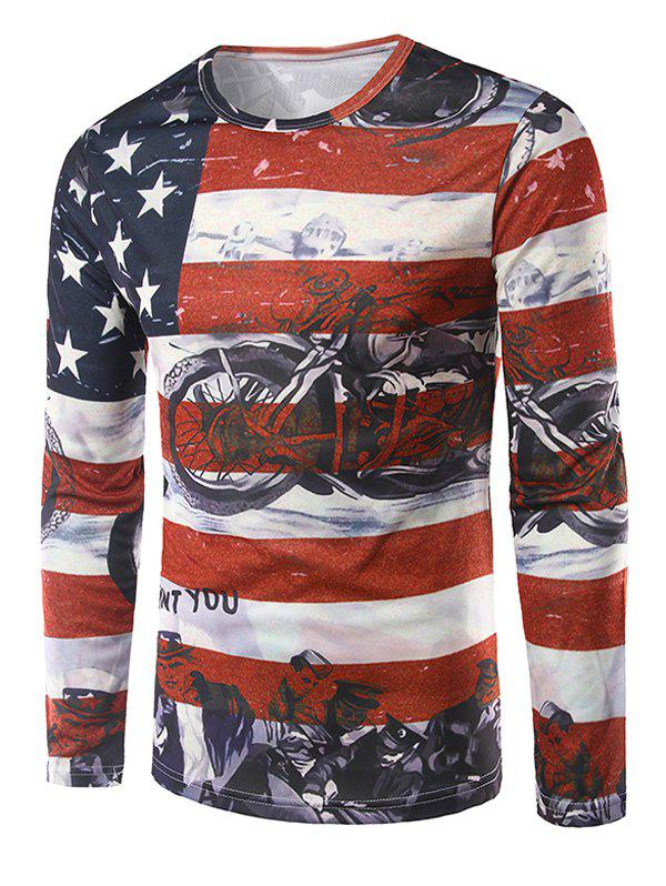 3D Print Flag Pattern Long Sleeves T-Shirt - COLORMIX XL