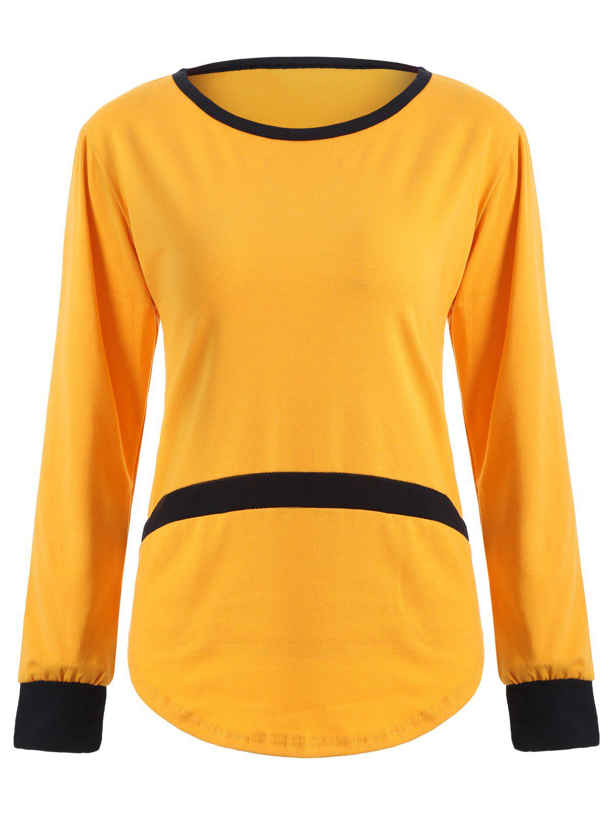 Scoop Neck Patchwork Contrast T-Shirt - YELLOW XL