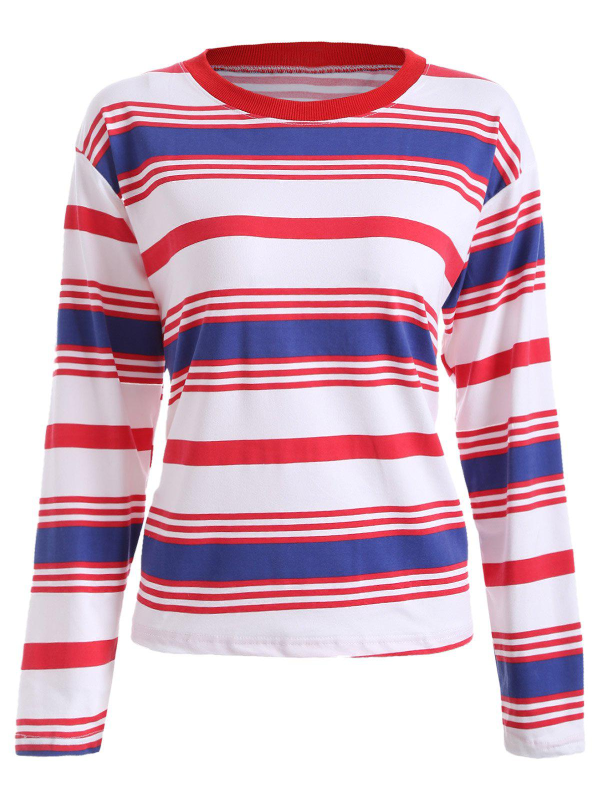 Loose Fitting Striped Print T-Shirt - RED/WHITE/BLUE S
