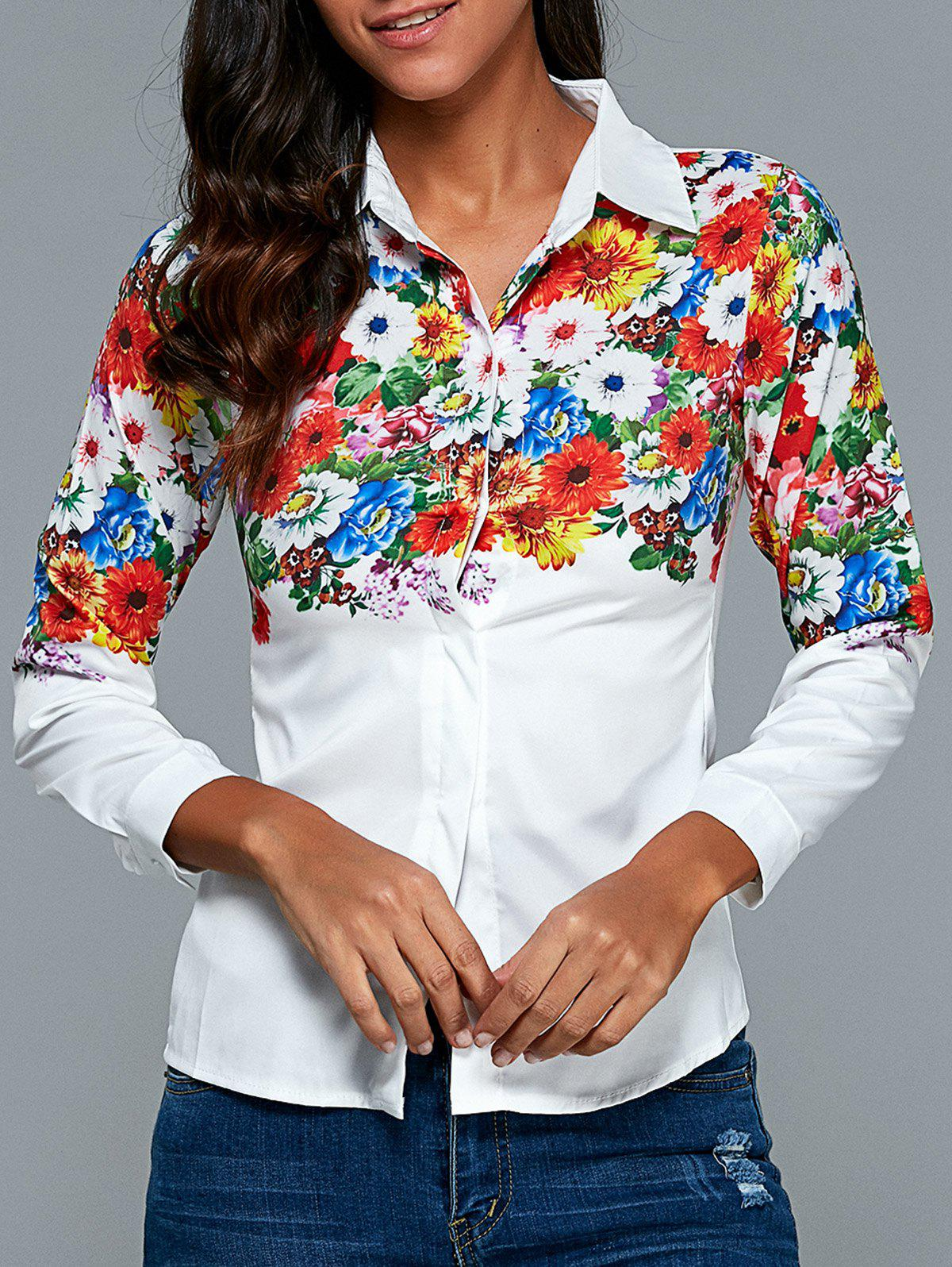 Bright colored floral pattern shirt white xl in blouses for Neon colored t shirts wholesale