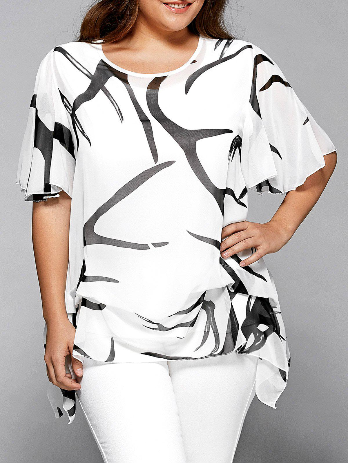 Printed Chiffon Asymmetric Plus Size Blouse