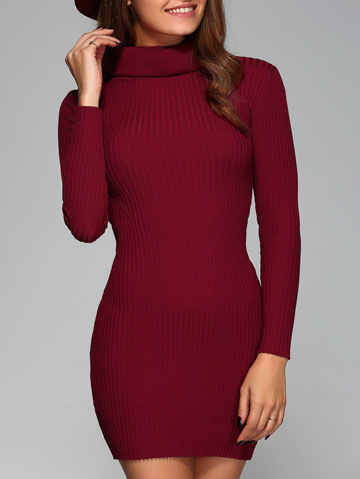 Turtle Neck Ribbed Skinny Stretchy Dress - WINE RED ONE SIZE