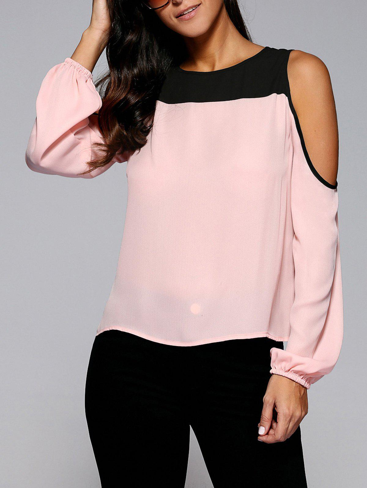 Cold Shoulder Contrast Trim Blouse - SHALLOW PINK M