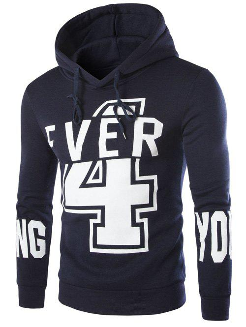 Numer and Letter Print Hooded Long Sleeve Hoodie - CADETBLUE XL
