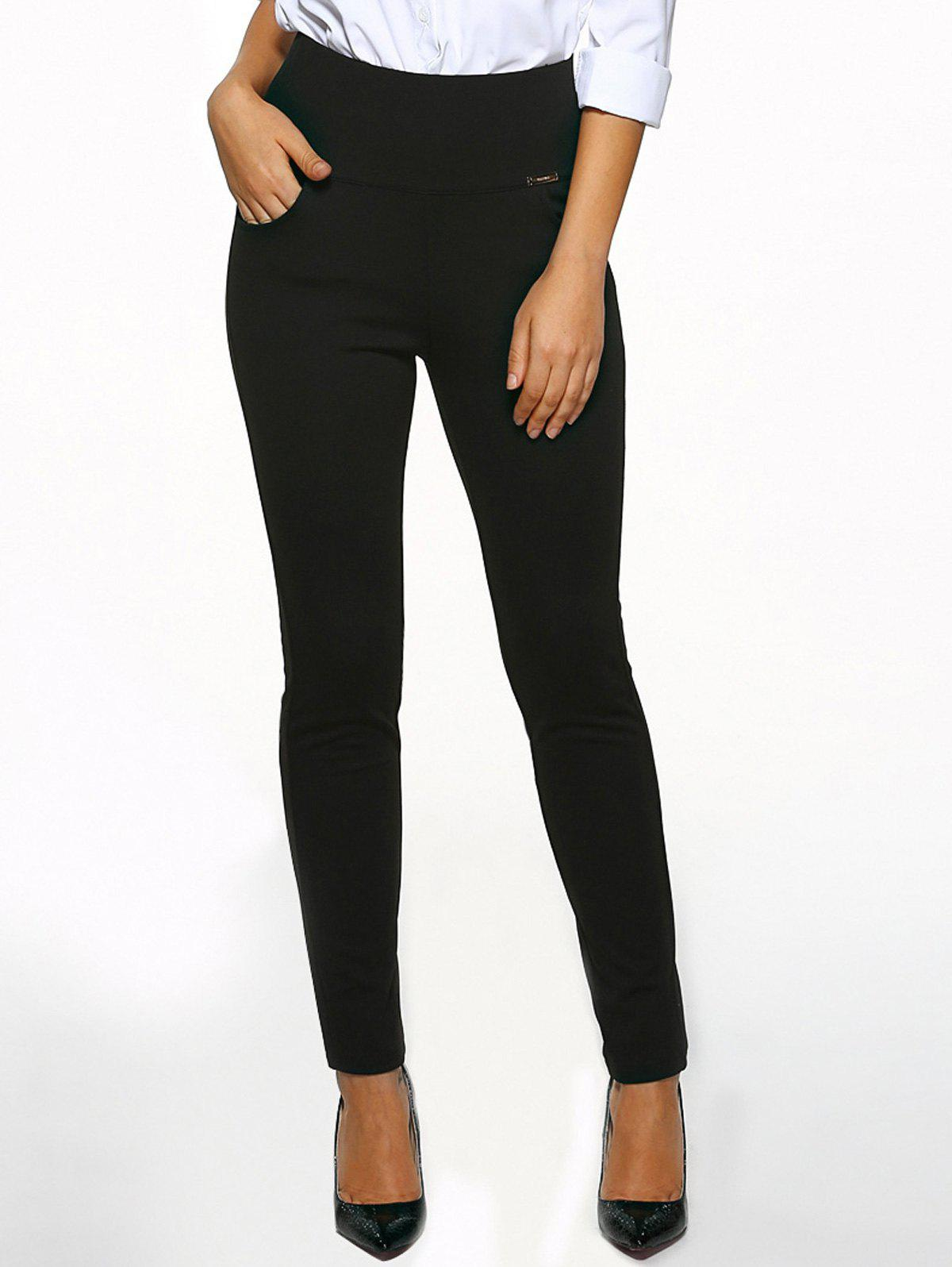 High Waist Cigarette Skinny Pants - BLACK S