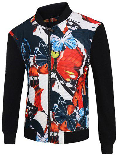 Stand Collar Zip-Up 3D Color Block Butterfly Print Jacket