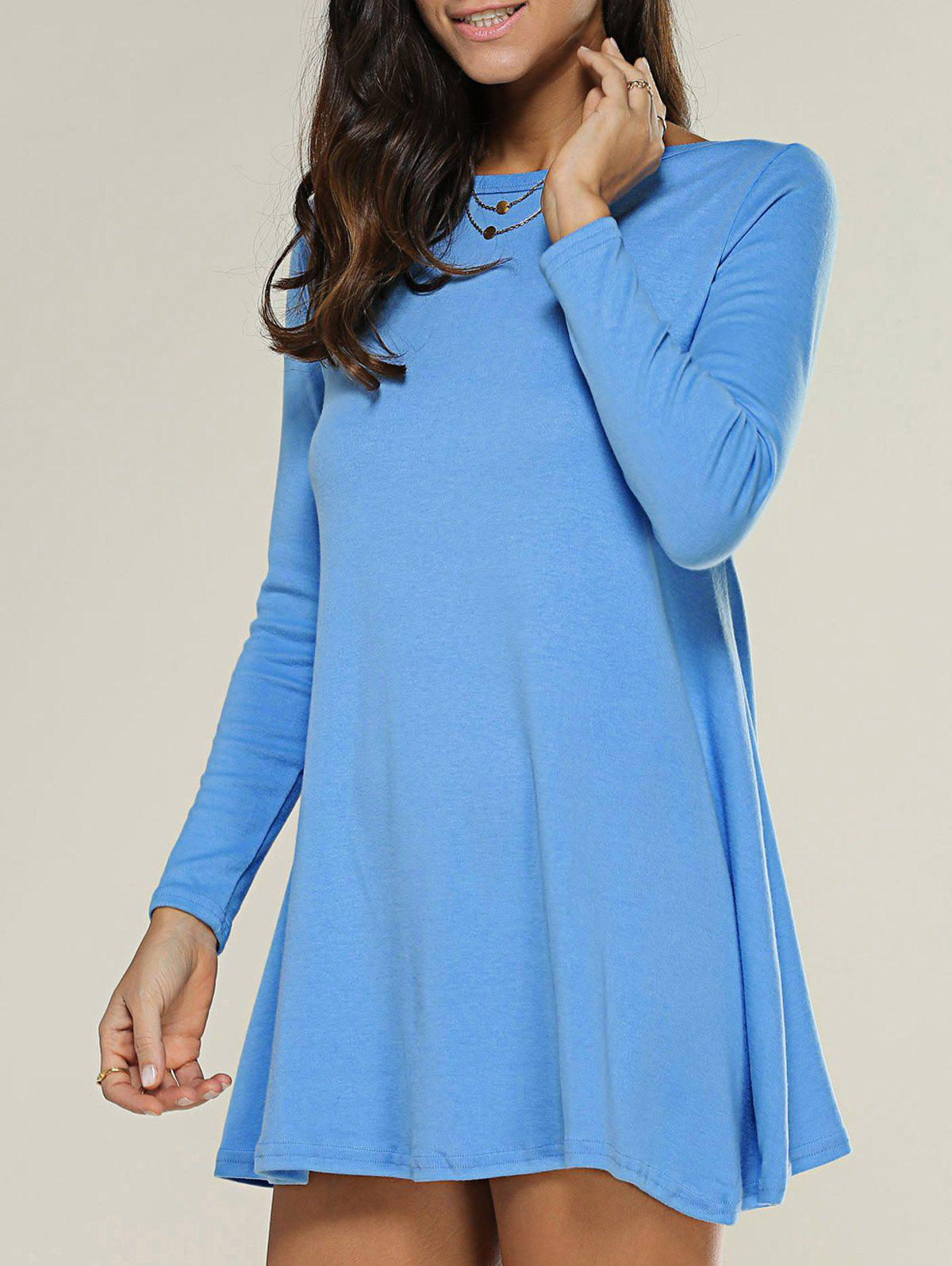 Long Sleeve Jersey Tee Tunic Swing Dress twin set simona barbieri низкие кеды и кроссовки