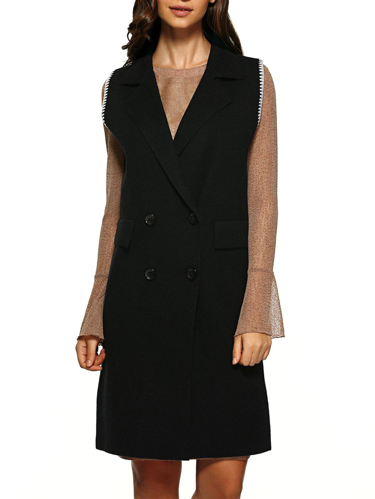 Double Breasted Knitted Vest - BLACK ONE SIZE