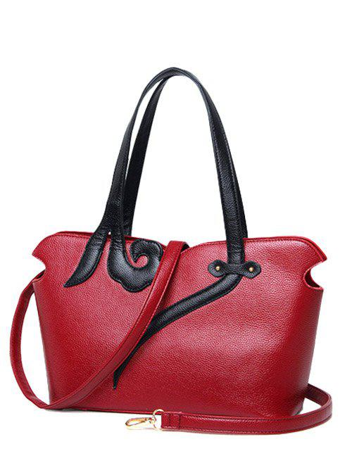 Stitching PU Leather Two-Tone Shoulder Bag - WINE RED