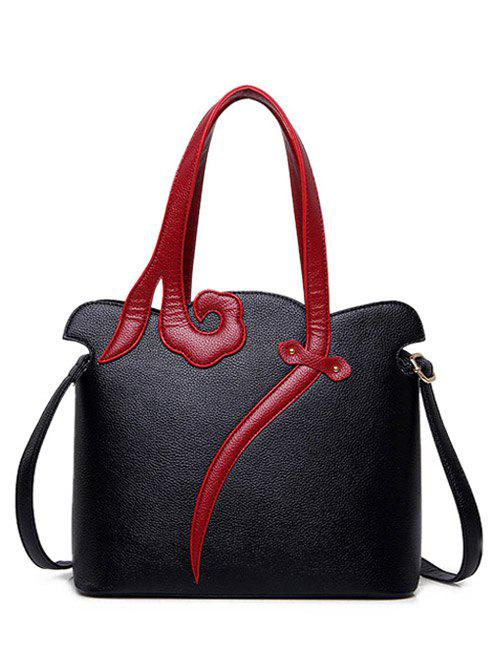 Two-Tone Metal PU Leather Shoulder Bag - BLACK