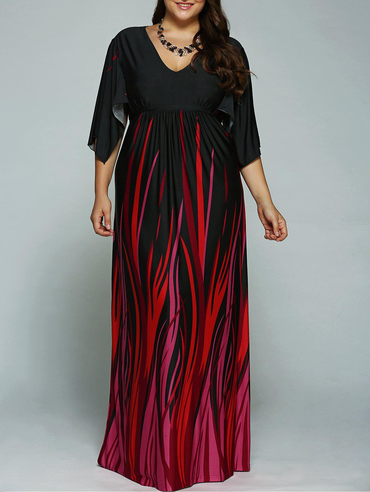 A Line Batwing Sleeves Empire Waist Printed Plus Size Formal Maxi Dress - BLACK 3XL