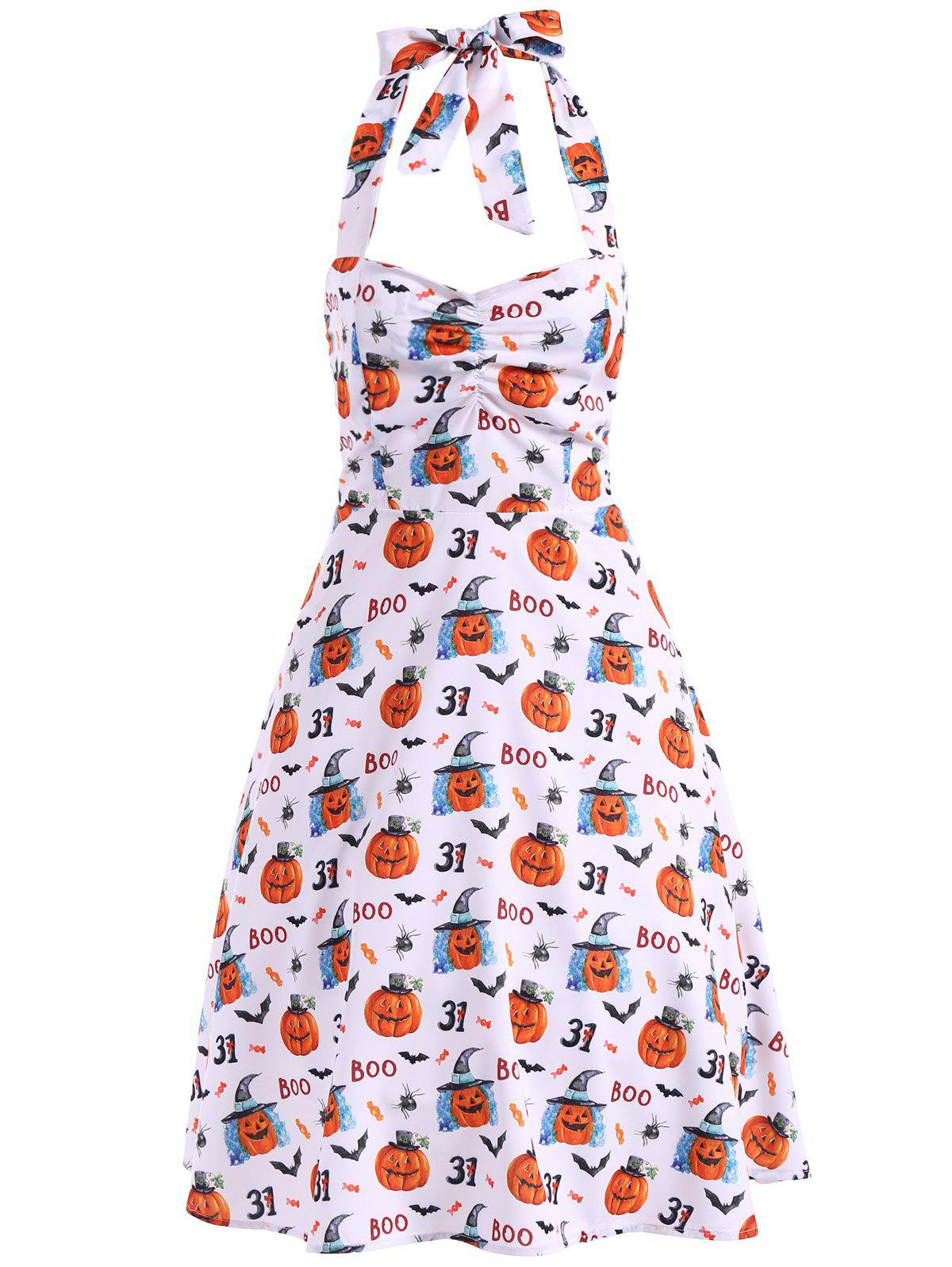 Halter Bat Pumpkin Print Vintage Dress - WHITE 2XL