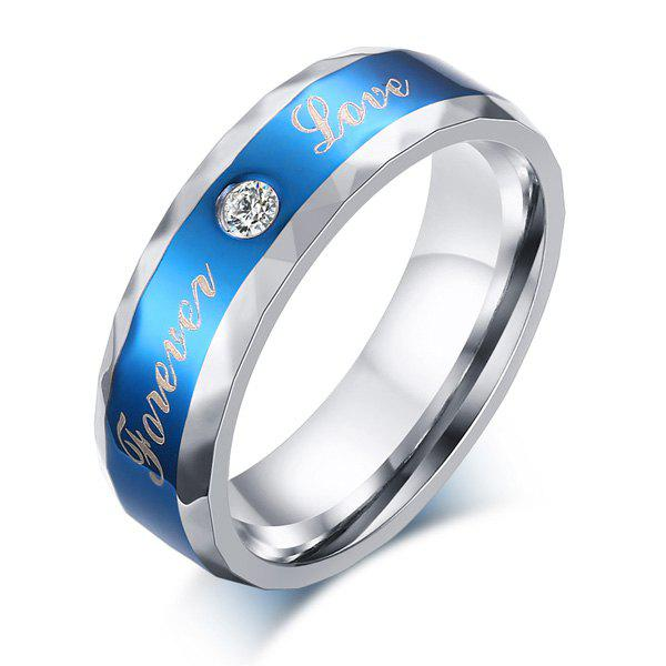Rhinestone Stainless Steel Forever Love Ring - BLUE 10