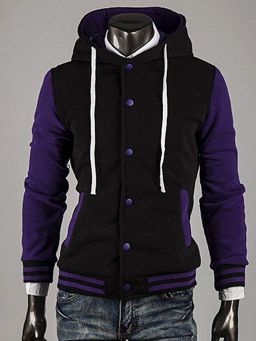Color Block Stripe Spliced Hooded Varsity Hoodie - PURPLE L