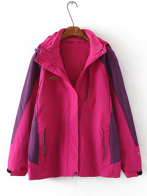 Plus Size Jacket flocage Hooded - rose 4XL