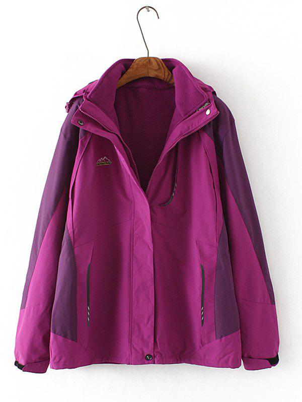 Plus Size Jacket flocage Hooded - Pourpre 4XL