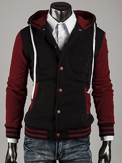 Color Block Stripe Spliced Hooded Varsity Hoodie - WINE RED XL