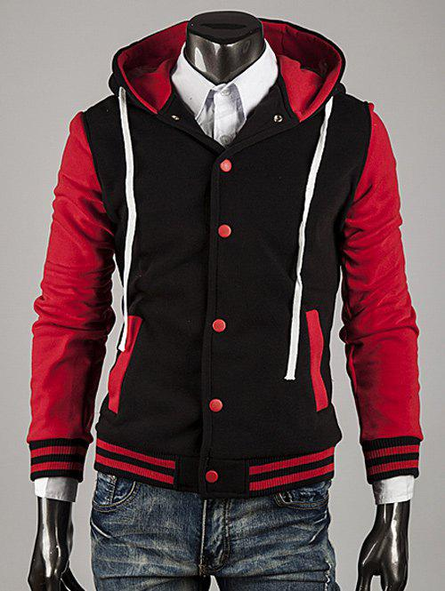 Color Block Stripe Spliced Hooded Varsity Hoodie - RED L