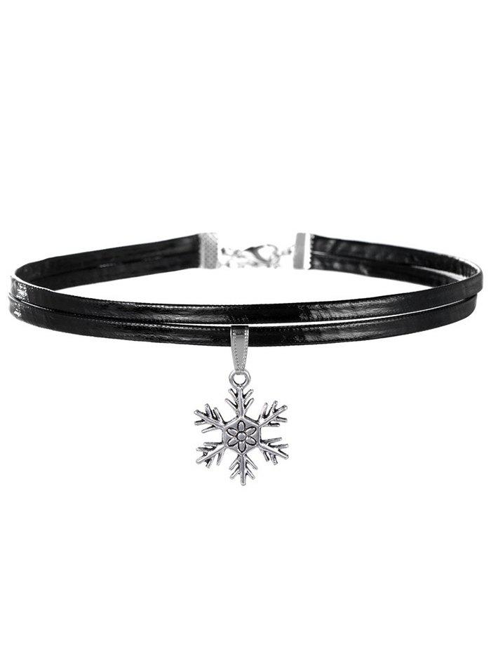 Layered Carved Snowflake Choker Necklace