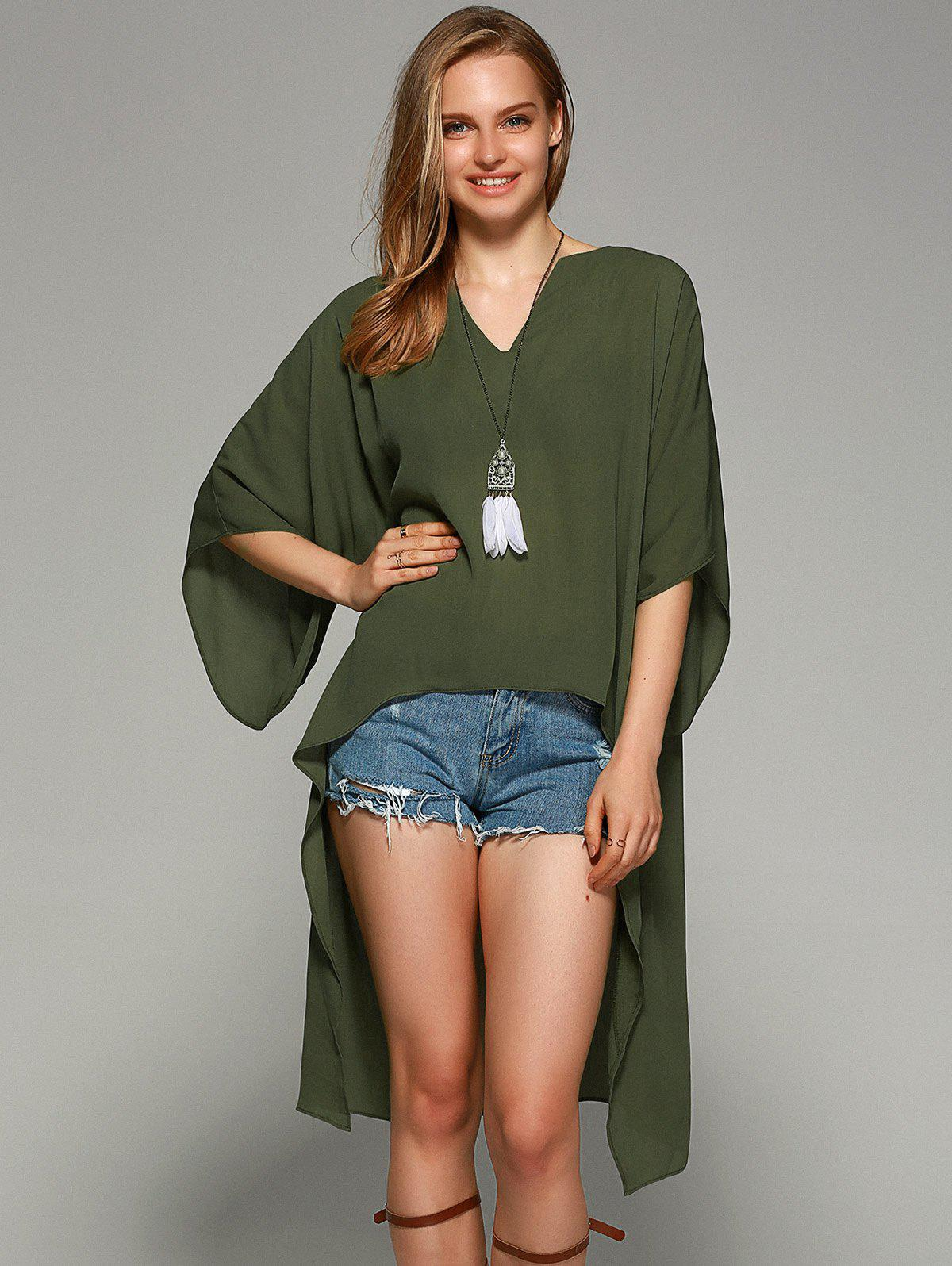 Novelty Batwing Sleeve High Low Hem Blouse - FLAX GREEN XL