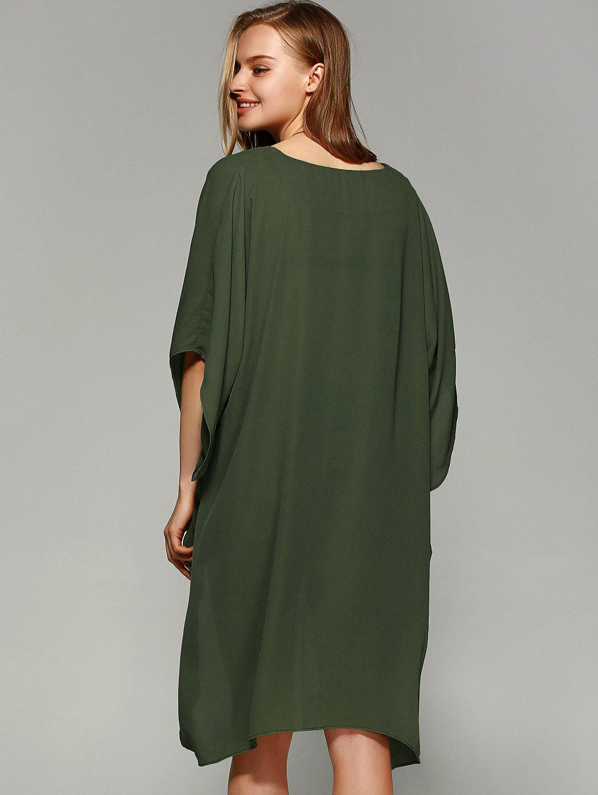 Novelty Batwing Sleeve High Low Hem Blouse - FLAX GREEN M