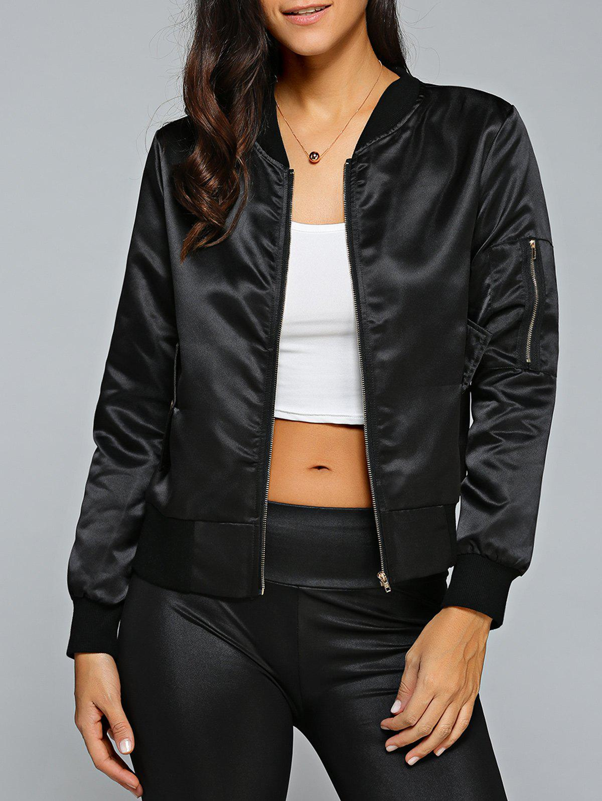 Satin Zip Up Bomber Jacket - BLACK M