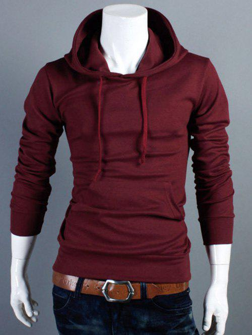 Drawstring Kangaroo Pocket Plain Pullover HoodieMen<br><br><br>Size: XL<br>Color: WINE RED