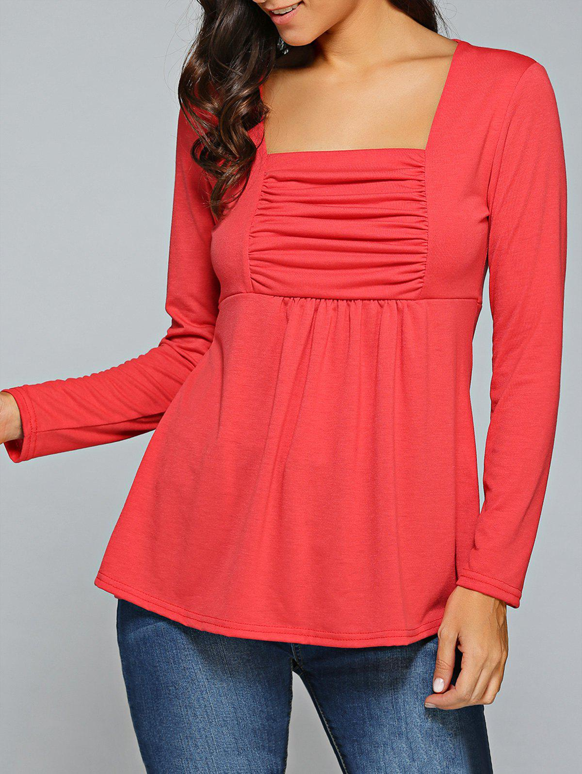 Square Neck Ruched Long Sleeve T-Shirt - RED XL