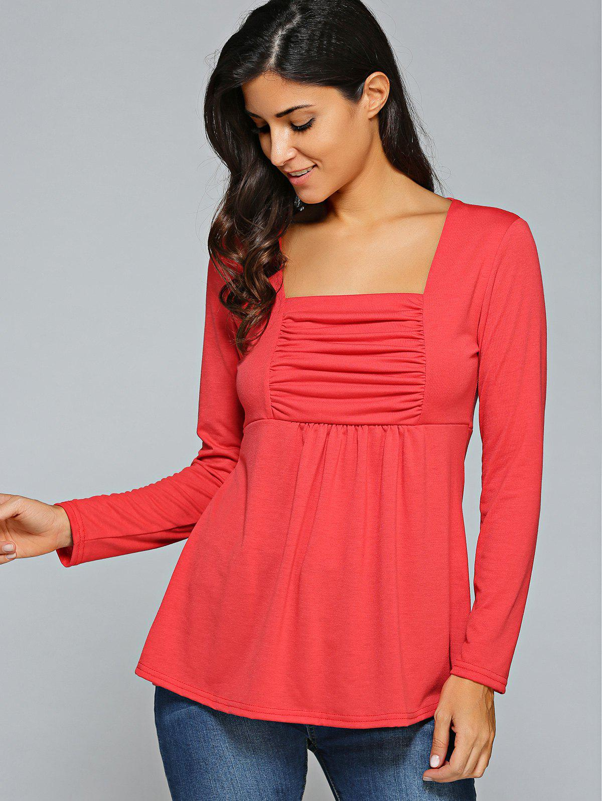Square Neck Ruched Long Sleeve T-Shirt - RED L