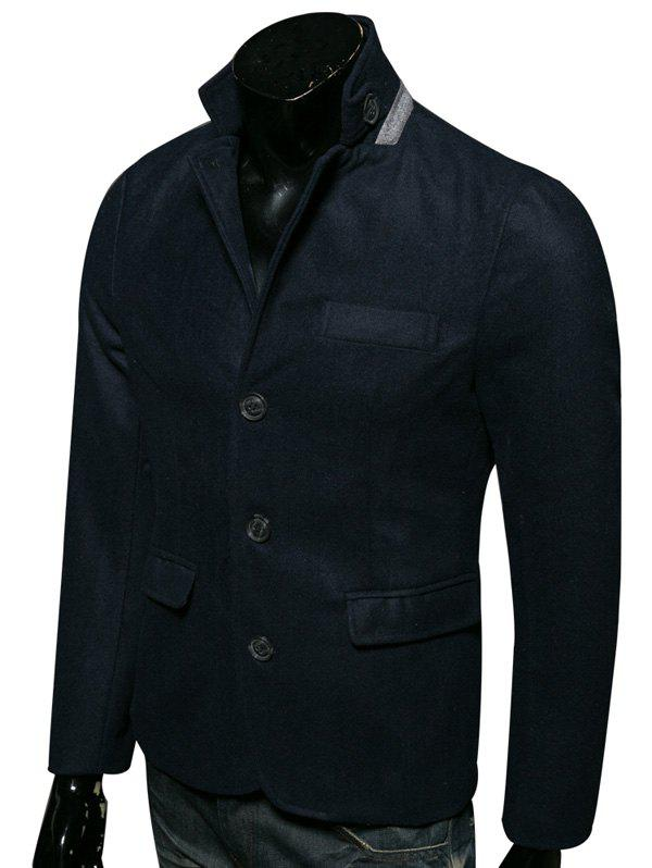 Stand Collar Edging Single-Breasted Woolen CoatMen<br><br><br>Size: XL<br>Color: CADETBLUE