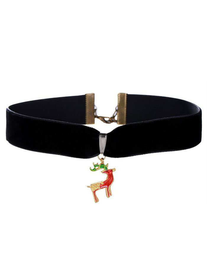 Christmas Deer Velvet Wide Choker Necklace - BLACK