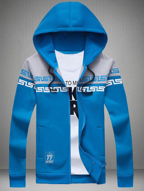 Zip Up Print Color Splicing Drawstring Hoodie - BLUE 2XL