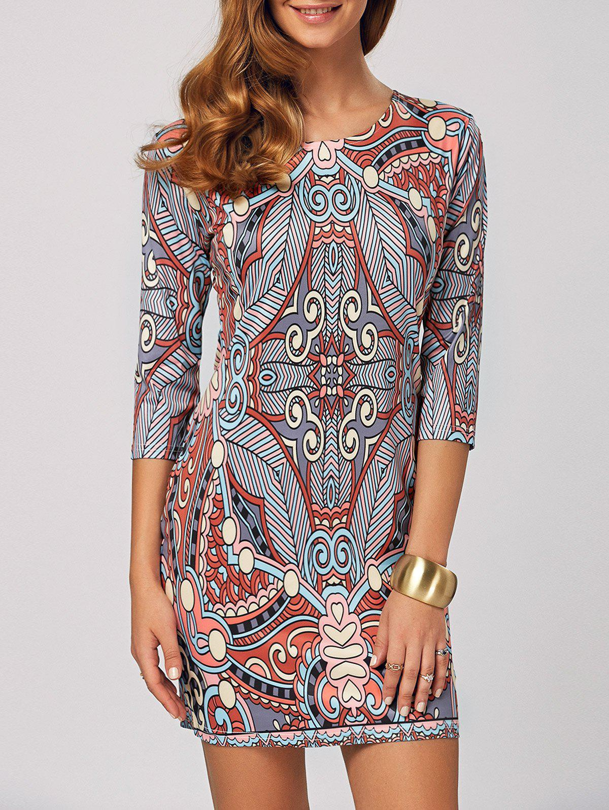 Abstract Print Bodycon Mini Dress - COLORMIX XS