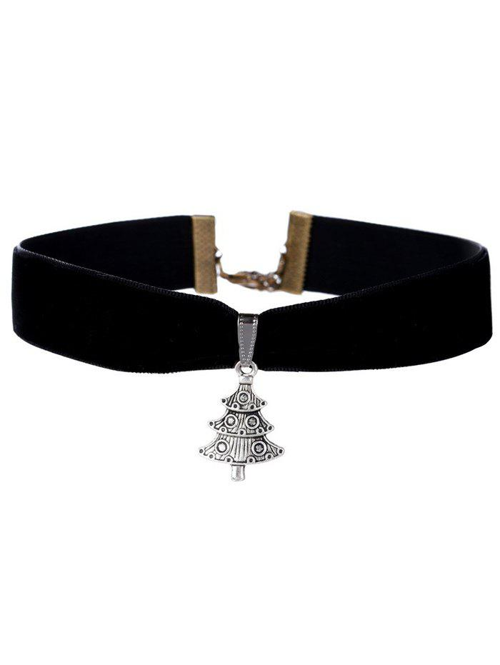Carved Christmas Tree Velvet Wide Choker