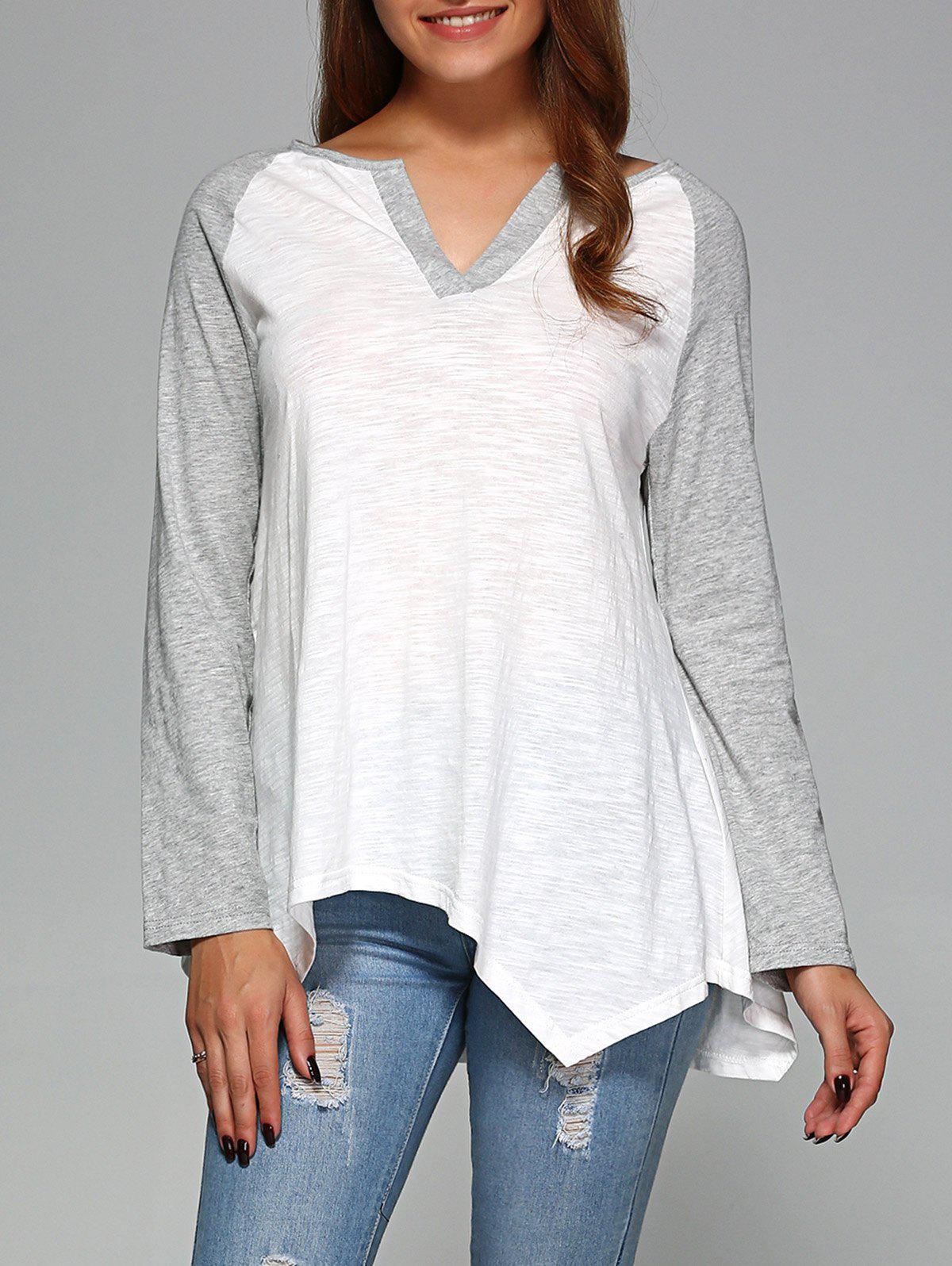 Raglan Sleeve Asymmetrical T-Shirt - GREY/WHITE XL
