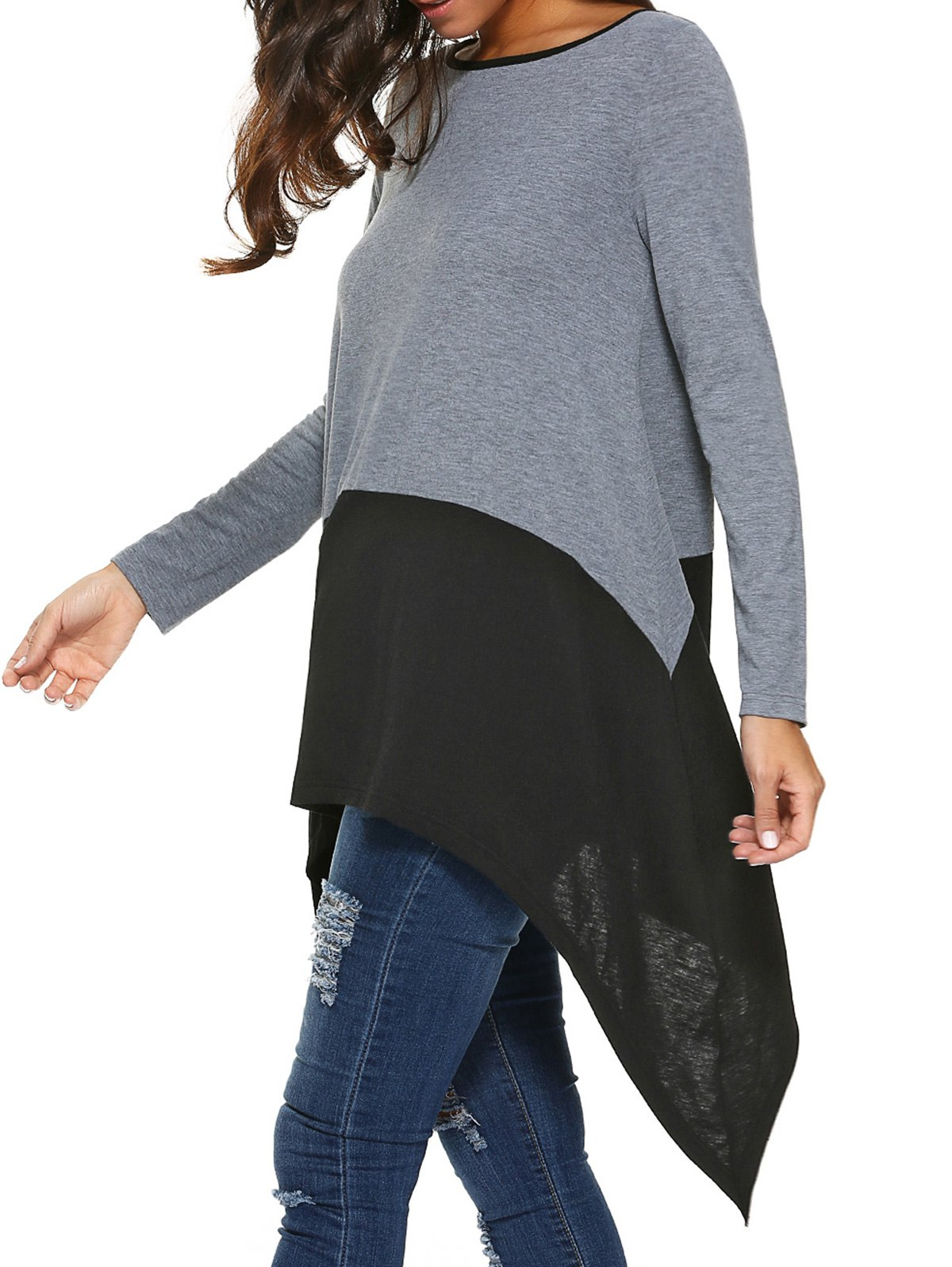 Long Sleeve Asymmetrical Blouse - BLACK/GREY M