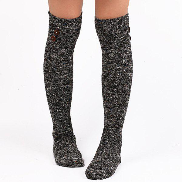 Buttons Snowflake Point Knit Stockings - BLACK