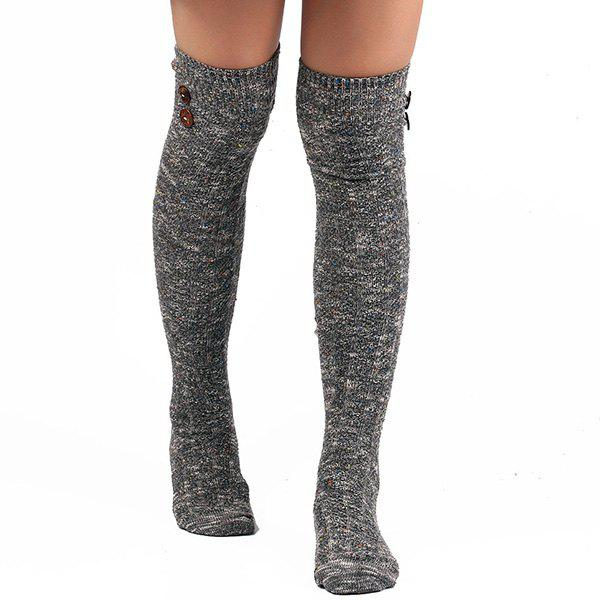 Buttons Snowflake Point Knit Stockings - GRAY