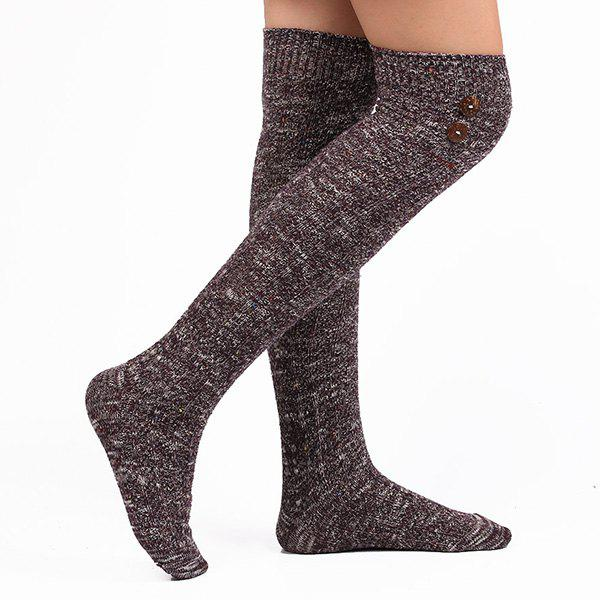 Buttons Snowflake Point Knit Stockings - DEEP PURPLE