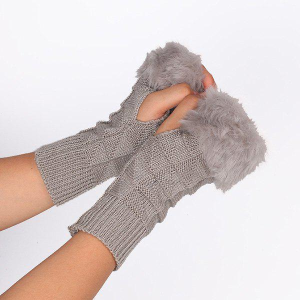 Faux Fur Plaid Knit Fingerless Gloves - LIGHT GRAY