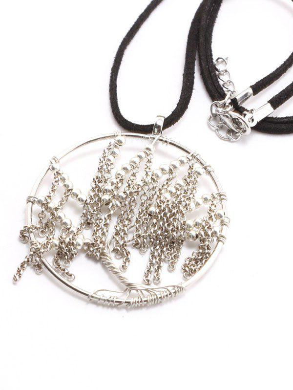 Faux Leather Velvet Life Tree Necklace faux leather velvet geometric woven necklace