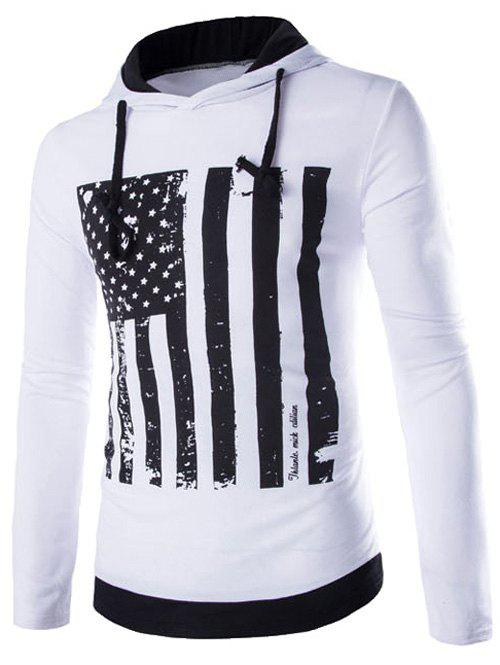 Drawstring Flag Pattern Contrast Trim Pullover Hoodie - WHITE XL